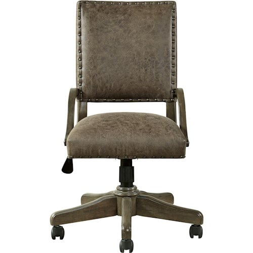 Morris Home Furnishings Varsity Swivel Desk Chair with Nailhead Trim