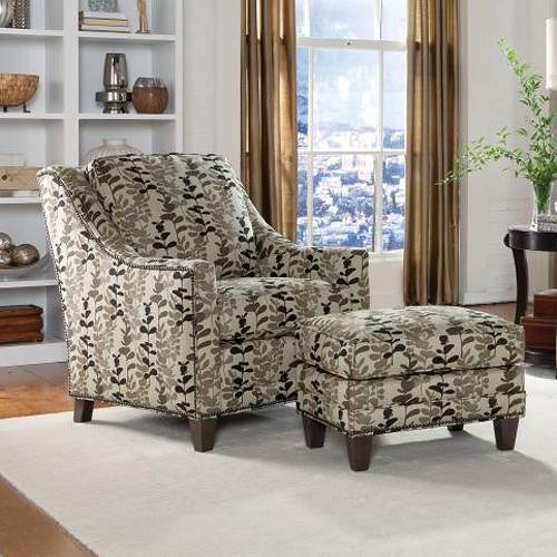 Peter Lorentz 201 Style Group Contemporary Chair and Ottoman Set with Nail Head Trim