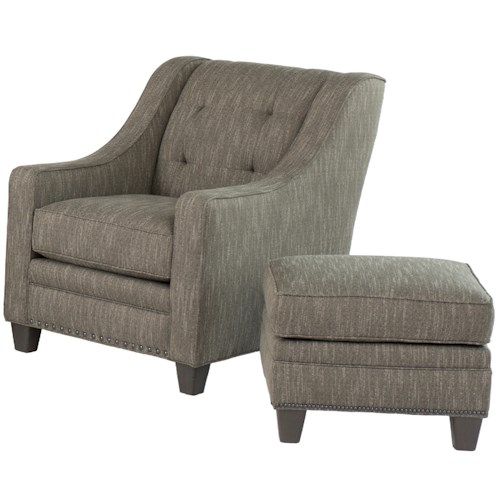 Peter Lorentz 203  Transitional Chair and Ottoman Set with Nailhead Trim