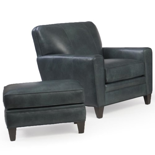Peter Lorentz 225 Chair with Tapered Track Arms and Ottoman Set