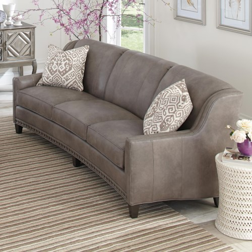 Peter Lorentz 227 Slightly Curved Sofa with Sloping Track Arms and Nail Head Trim