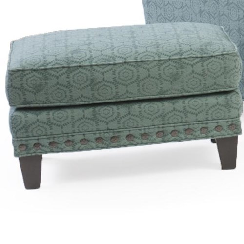 Peter Lorentz 227 Upholstered Ottoman with Nail Head Trim