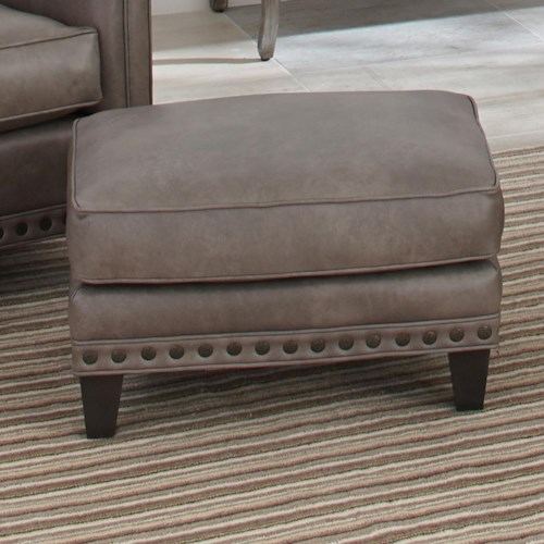 Smith Brothers 227 Upholstered Ottoman with Nail Head Trim