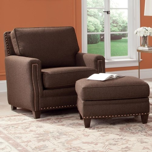 Peter Lorentz 231 Traditional Chair and Ottoman with Tapered Wood Feet