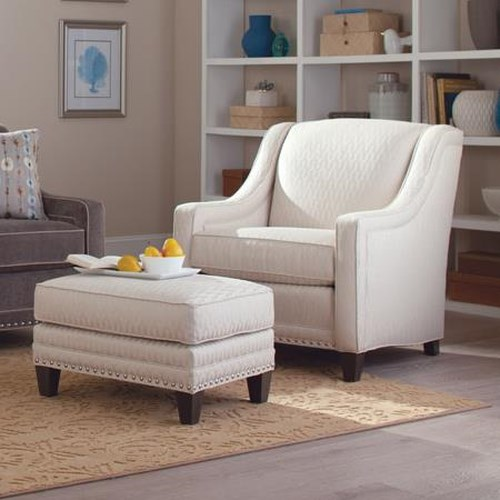 Smith Brothers 233 Traditional Chair and Ottoman Set with Nailhead Trim