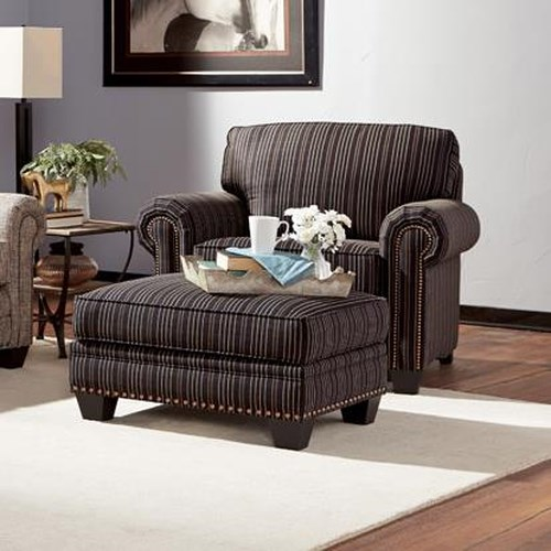 Peter Lorentz 235 Traditional Chair and Ottoman with Nailhead Trim
