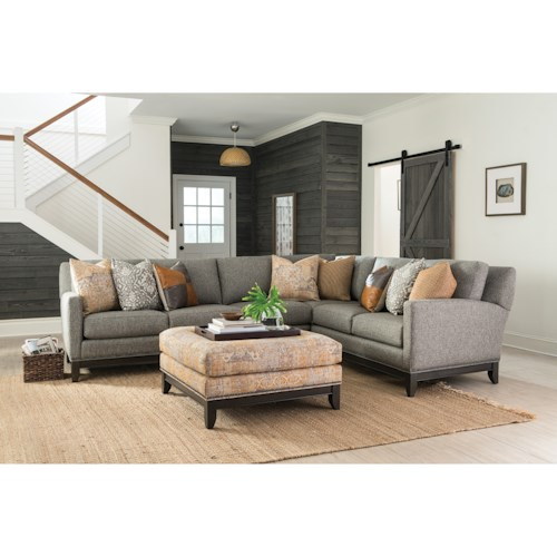 Smith Brothers 238 Transitional Sectional Sofa with Tapered Legs