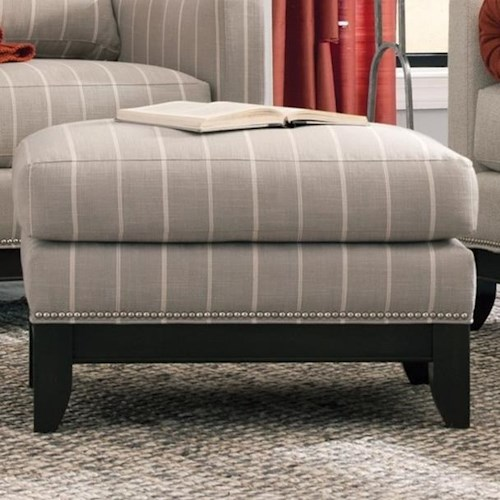 Smith Brothers 238 Transitional Ottoman with Tapered Legs