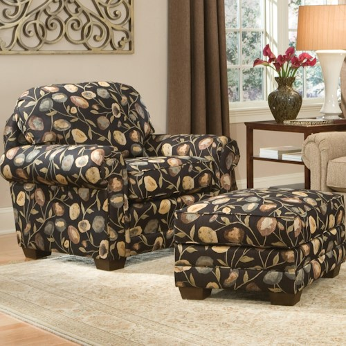 Smith Brothers 310 Upholstered Chair & Ottoman with Wood Legs