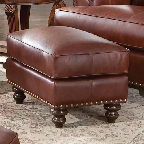 Smith Brothers 324 Upholstered Rectangular Ottoman with Nailhead Trim