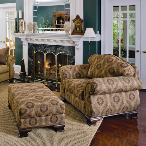 Smith Brothers 336 Upholstered Chair and Ottoman