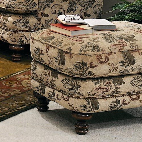 Peter Lorentz 346 Ottoman with Nailhead Trim