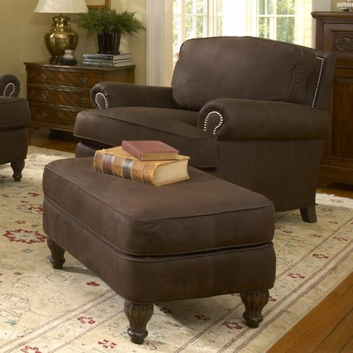 Smith Brothers 358 Upholstered Chair and Ottoman with Nail Head Decal