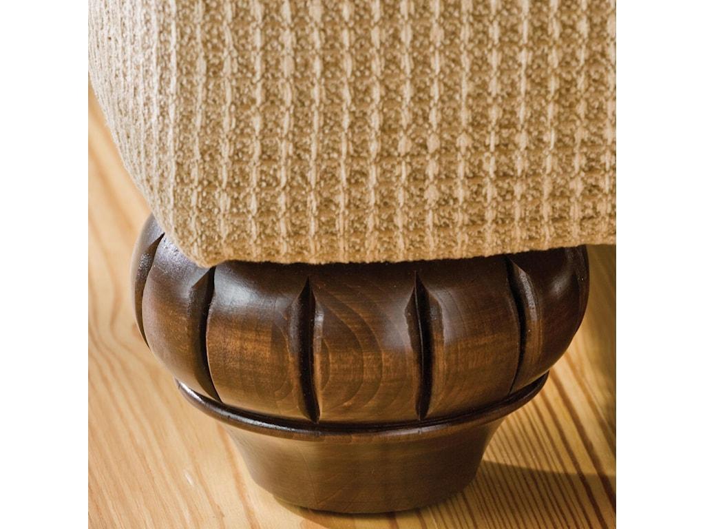 Elegantly Carved Exposed Wood Leg Detail