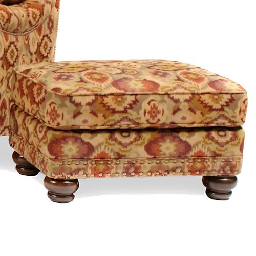 Peter Lorentz 386 Traditional Ottoman with Nailhead Trim