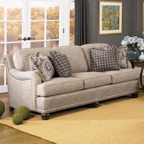 Peter Lorentz 388 English Sofa with Rolled Back, English Arms, and Nail Head Trim