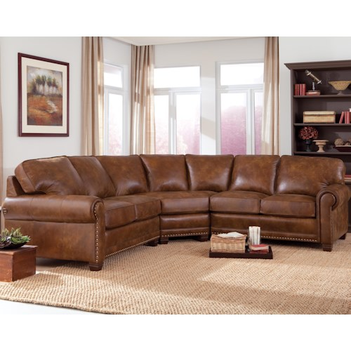 Smith Brothers 393 Traditional 3-piece Sectional Sofa with Nailhead Trim