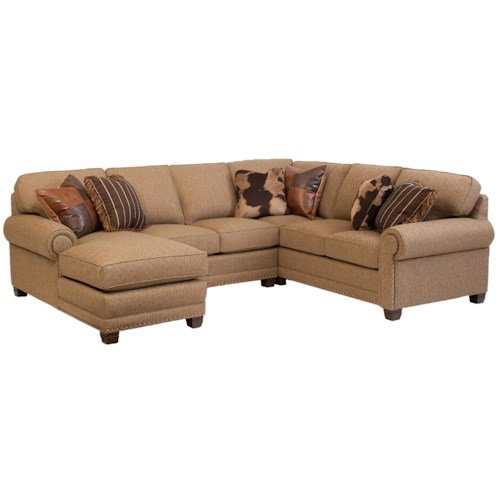 Smith Brothers 393 Traditional 3-piece Sectional Sofa with Left-Arm-Facing Chaise