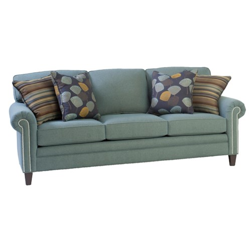 Peter Lorentz 395 Style Group Stationary Sofa with Rolled Arms and Nail Head Trim