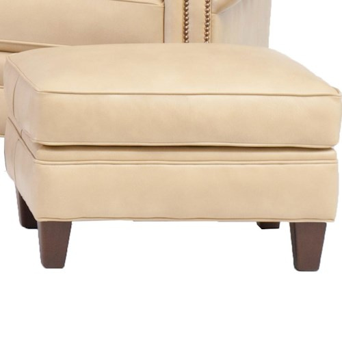 Smith Brothers 395 Style Group Stationary Chair Ottoman with Welt Cords and Tapered Wood Legs