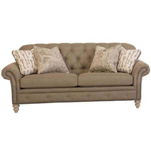 Peter Lorentz 396 Traditional Button-Tufted Sofa with Nailhead Trim