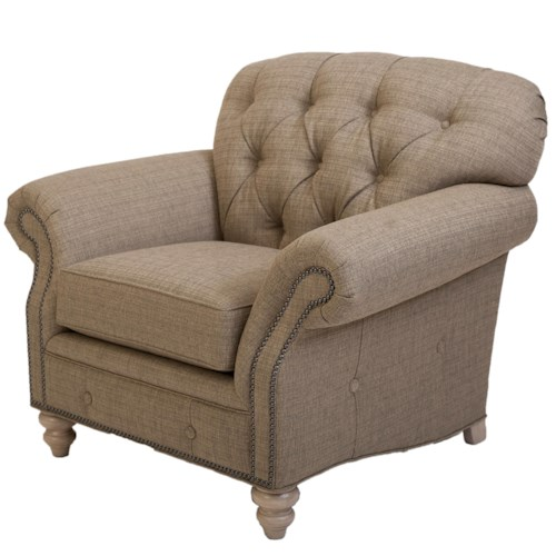 Peter Lorentz 396 Traditional Button-Tufted Chair with Nailhead Trim