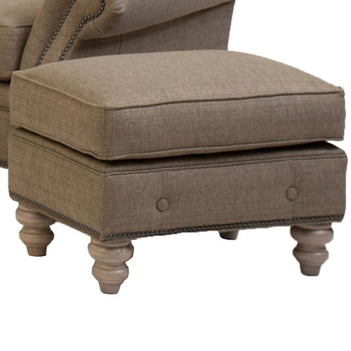 Smith Brothers 396 Traditional Ottoman with Buttom Trim and Turned Feet