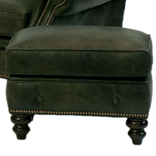 Peter Lorentz 396 Traditional Ottoman with Buttom Trim and Turned Feet