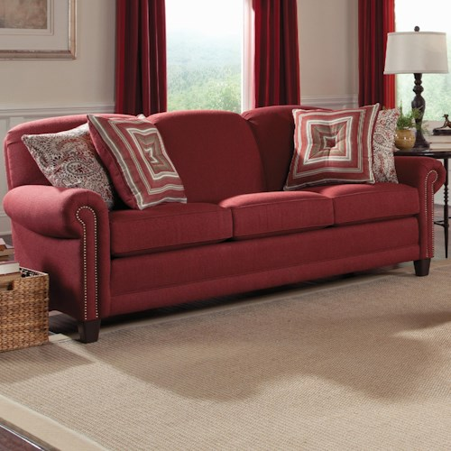 Smith Brothers 397 Stationary Sofa with Rolled Arms, Wood Feet, and Nail Head Trim