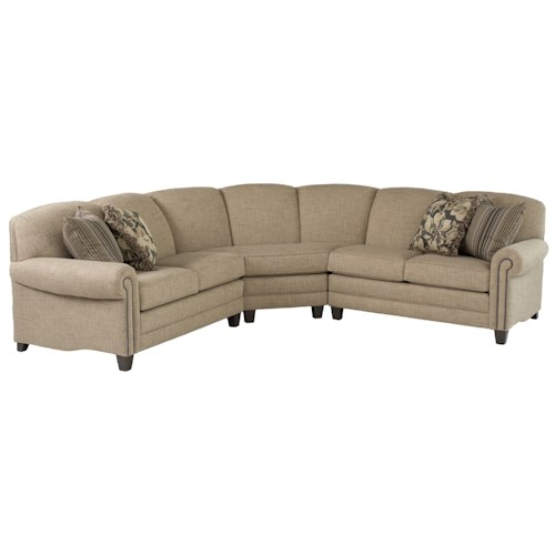 Smith Brothers 397 Stationary Sectional with Rolled Arms and Nail Head Trim