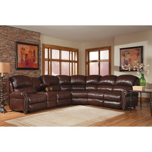Peter Lorentz 414 Traditional Motorized Reclining Sectional Sofa with Turned Legs