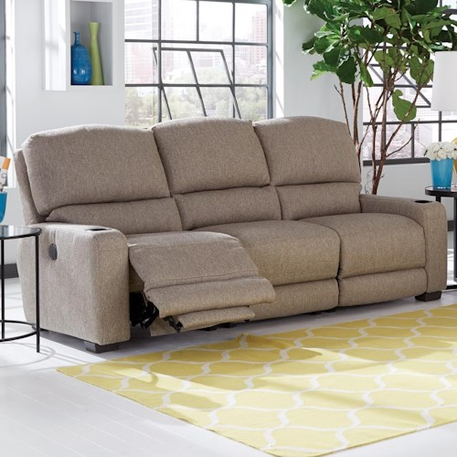 Smith Brothers 415 Casual Motorized Reclining Sectional Sofa with Cup Holders