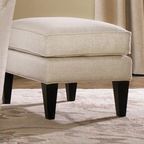 Smith Brothers 502 Style Group Chair Ottoman with Welt Cords and Wood Tapered Legs