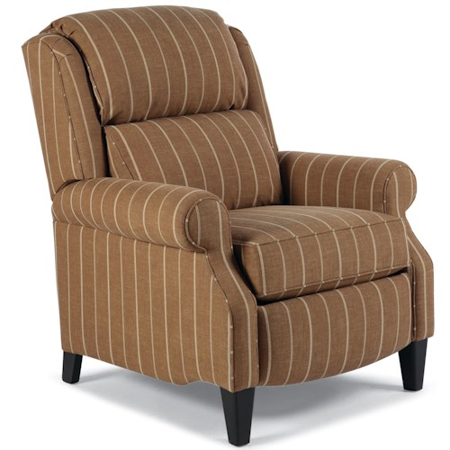 Smith Brothers 503 Traditional Big and Tall Pressback Reclining Chair with Rolled Arms