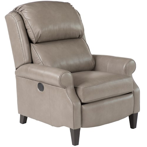 Smith Brothers 503L Traditional Leather Pressback Reclining Chair with Rolled Arms