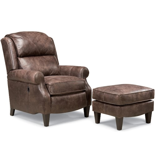Smith Brothers 503L Traditional Leather Motorized Reclining Chair with Rolled Arms and Ottoman