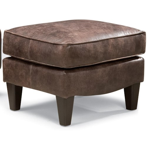 Peter Lorentz 503L Traditional Leather Ottoman with Tapered Feet