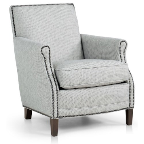 Peter Lorentz 517 Casual Chair with Rolled Scooped Arms and Nailhead Trim