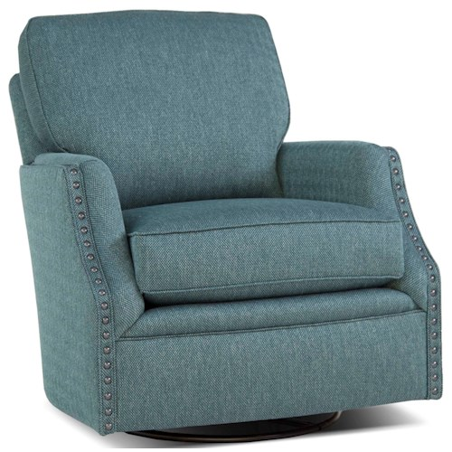 Peter Lorentz 526 Casual Swivel Chair with Nailhead Trim