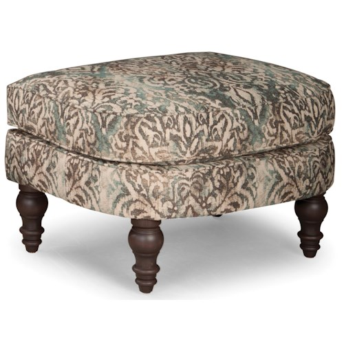 Smith Brothers 568 Upholstered Ottoman with Turned Wood Legs