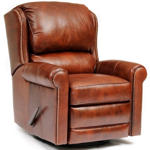 Smith Brothers 720L Casual Leather Swivel Glider Reclining Chair