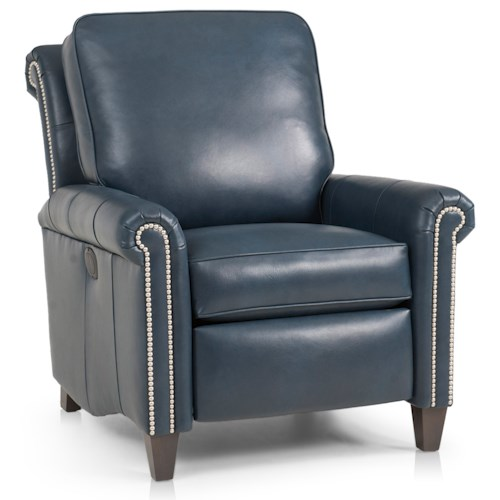 Peter Lorentz 726 Traditional Pressback Recliner with Scroll Back Design and High Tapered Legs