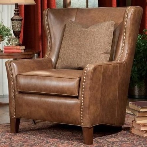 Peter Lorentz 825 Traditional Wing Back Chair with Nail Head Trim and Tapered Legs