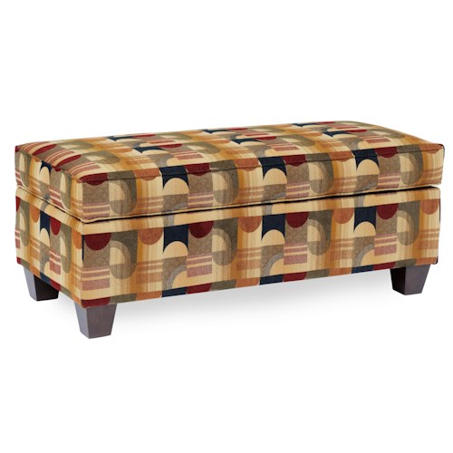 Smith Brothers 901 Rectangular Storage Ottoman with Tapered Legs