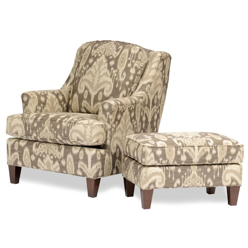 Peter Lorentz 944 Upholstered Chair and Ottoman with Tapered Wood Block Legs