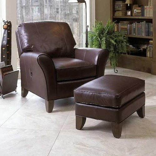 Smith Brothers 966 Tilt-Back Chair & Ottoman Set w/ Flared Arms