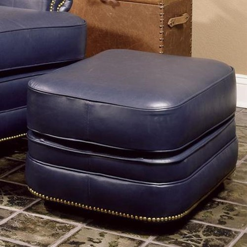 Smith Brothers 990 Leather Ottoman with Nailhead Trim