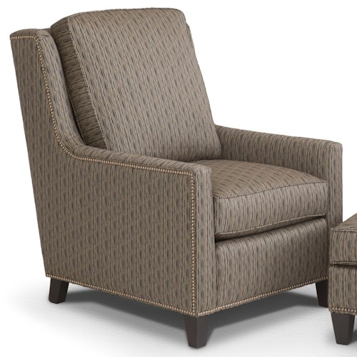 Smith Brothers Accent Chairs and Ottomans SB Transitional Stationary Chair with Nailhead Trim