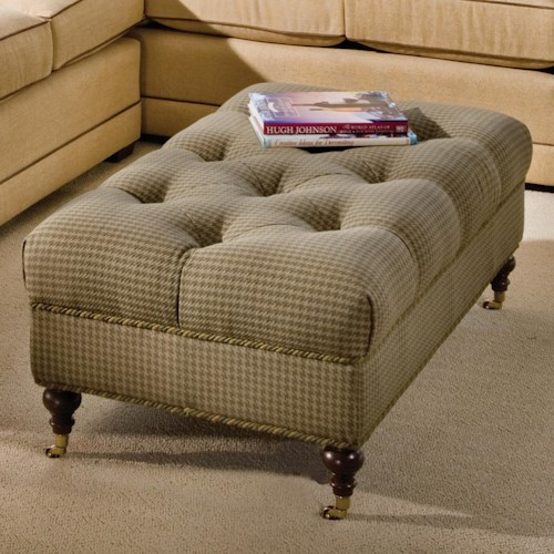 Smith Brothers Accent Chairs and Ottomans SB Traditional Tufted Ottoman with Casters