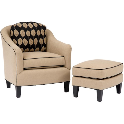 Smith Brothers Accent Chairs and Ottomans SB Upholstered Chair & Ottoman with Welt